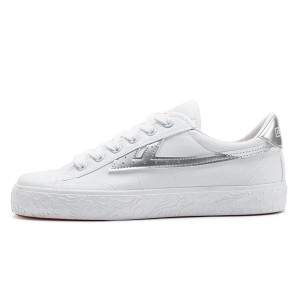 Hui Li White Silver Stripes Lace Up Sneakers