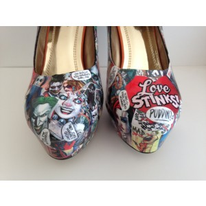 Women's Harley Quinn Floral Comic Platform Stiletto Heels Pumps for Halloween