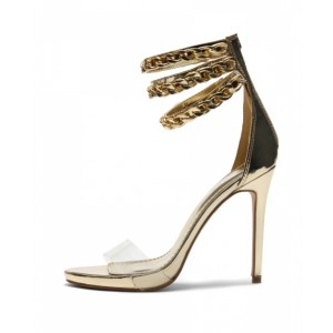 Silver Transparent Elegant Ankle Strap Platform Sandals for Daily Dress
