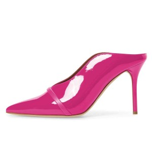 Hot Pink Pointed Toe Patent Leather Mules Stiletto Heels