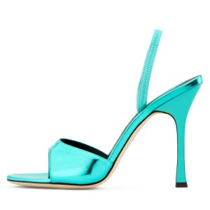 Turquoise Patent Leather Slingback Heels Spool Heel Sandals