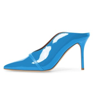 Blue Pointed Toe Patent Leather Mules Stiletto Heels