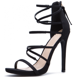 Black Strappy Sandals Suede Stiletto Heels for Women