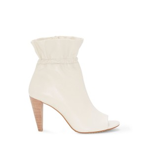 White Vegan Peep Toe Booties Cone Heel Ankle Booties