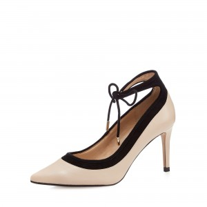 Nude and Black Ankle Strap Heels Suede Stiletto Heel Pumps