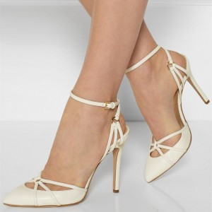 Ivory Ankle Strap Heels Stiletto Heel Pumps