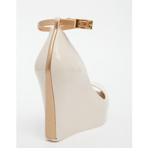 Nude Ankle Strap Heels Peep Toe Wedge Heels for Women