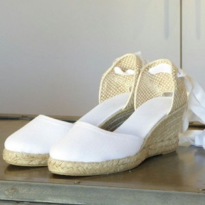 White Lace up Wedding Shoes Closed Toe Espadrille Wedges Sandals