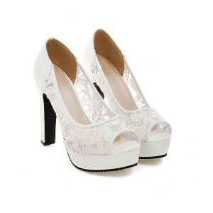 White Lace Heels Peep Toe Platform Chunky Heel Pumps for Wedding