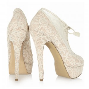 Ivory Lace Platform Wedding Shoes Lace up Ankle Booties for Bride