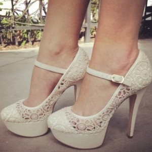 Ivory Lace Stiletto Heels Platform  Mary Jane Pumps Wedding Shoes