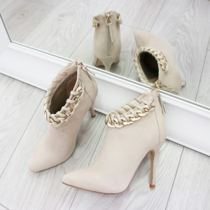 Ivory Metal Chain Pointy Toe Stiletto Heel Ankle Booties