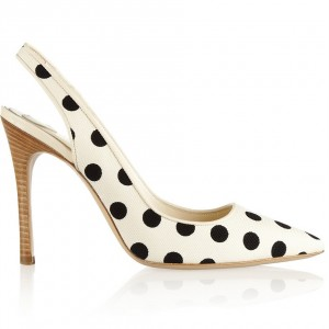 Ivory Polka Dots Slingback Pumps Pointy Toe Stiletto Heels