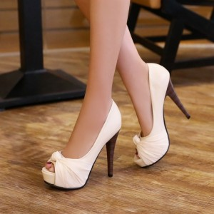 Ivory Satin Bridal Heels Peep Toe Stilettos Platform Wedding Shoes