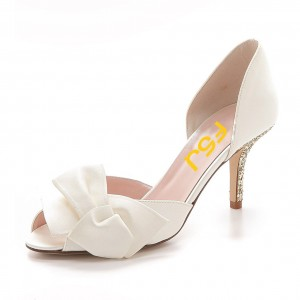Ivory Satin Low Heel Wedding Shoes Peep Toe Glitter Bow Pumps
