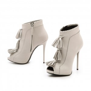 Ivory Stiletto Boots Peep Toe Tassels Ankle Booties