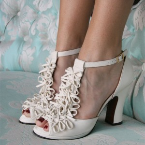 Ivory Bows T Strap Heels Chunky Heel Sandals
