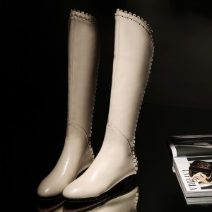 Ivory Vegan Leather Knee Boots Round Toe Flats Comfortable Long Boots