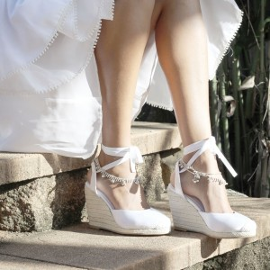 White Satin Wedding Heels Closed Toe Lace up Espadrille Wedges