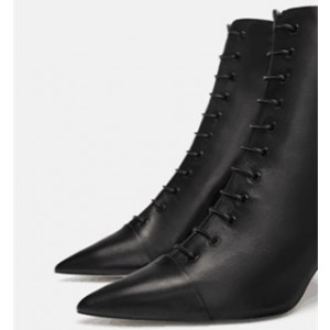 Custom Made Black Pointy Toe Lace up Ankle Booties
