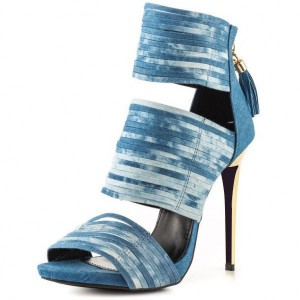 Women's Blue Denim Stiletto Heels Tassels Ankle Strap Sandals