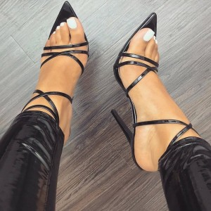 Black Stiletto Heel Strappy Sandals