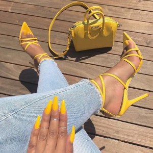 Yellow Stiletto Heel Strappy Sandals