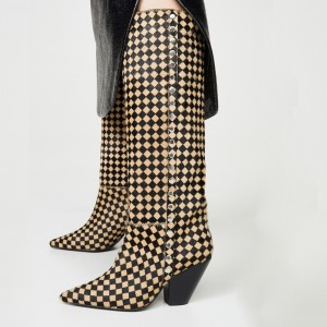 Khaki and Black Squares Horsehair Chunky Heel Boots Studs Boots