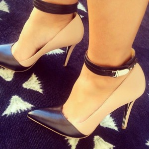 Khaki and Black Pointy Toe Ankle Strap Heels Pumps