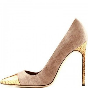 Khaki and Gold Stiletto Heels Pointy Toe Pumps for Women