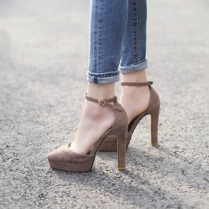 Taupe Ankle  Strap Heels Almond Toe Chunky Heels Platform Pumps