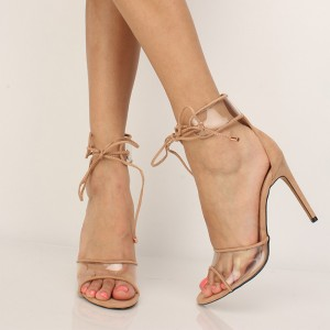 Khaki Clear Strappy Sandals Stiletto Heels Open Toe Sandals