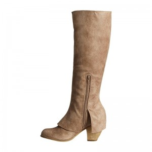 Khaki Fashion Boots Block Heel Zip Lace Knee High Boots