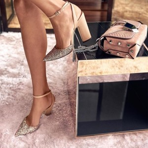 Khaki Glitter Slingback Heels Pointy Toe Ankle Strap Sandals for Women