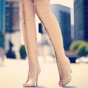 Khaki Lace-up Boots Peep Toe Stiletto Heel Thigh High Boots