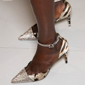 Animal Print Rhinestones Pointy Toe Ankle Strap Heels Pumps