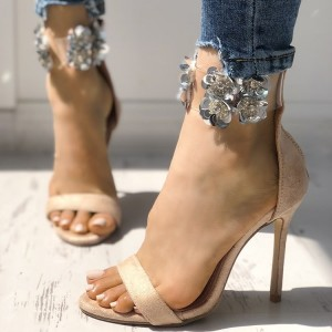 Khaki Open Toe Stiletto Heels Sequined Flower Ankle Strap Sandals