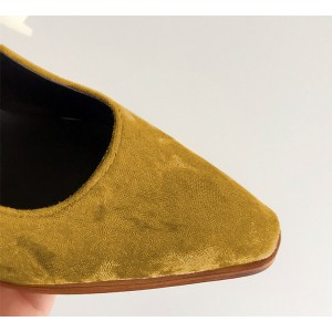 Khaki Velvet Vintage Shoes Pointy Toe Mary Jane Flats US Size 3-15