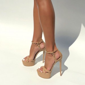 Khaki Rivets Stiletto Heels Platform Sandals for Women