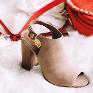 Khaki Vegan Shoes Peep Toe Chunky Heel Slingback Summer Booties