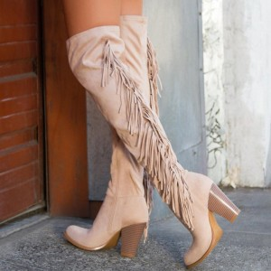 Khaki Suede Fringe Chunky Heel Boots Over the Knee Boots