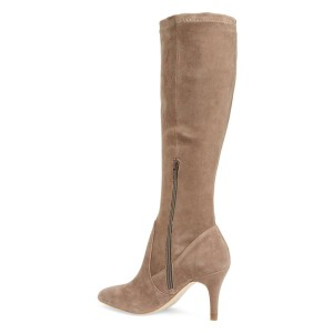 Khaki Suede Knee-high Stiletto Boots for Women