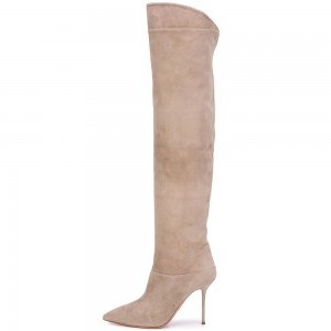 Khaki Suede Knee Boots Pointy Toe Stiletto Heel Boots