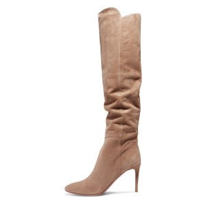 Khaki Suede Knee High Stiletto Boots