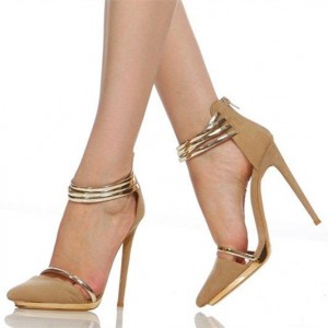 Women's Light Brown Metal Ankle Strap Sandals Stiletto Heels Pumps Shoes
