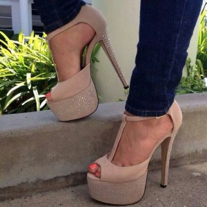 Khaki T Strap Sandals Rhinestone Stiletto Heels Platform Shoes