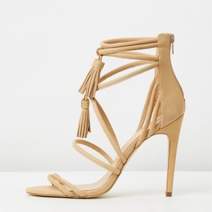 Khaki Tassel Sandals Open Toe Strappy Stiletto Heels