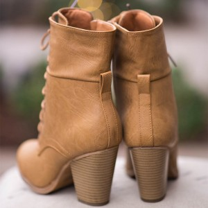 Khaki Vintage Boots Lace up Chunky Heel Retro Ankle Boots