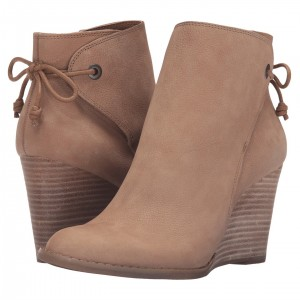 Retro Khaki Wedge Booties Round Toe Lace Up Leather Ankle Boots