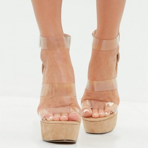 Khaki Wedge Sandals Clear Shoes Open Toe Ankle Strap Sandals